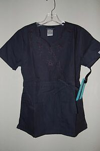 Image is loading Cherokee-scrubs-Inspired-Comfort-embroidered-scrub-top -Pewter-