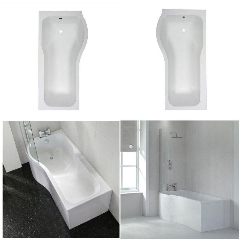 Left & Right Hand P Shaped Shower Bath 1500mm 1700mm Bath