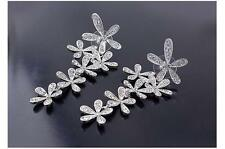 Vintage Silver Plated Crystal Flower Dangler Long Drop Earrings Women Jewelry