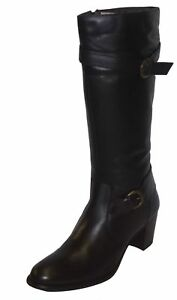 Ladies Damen Stiefel Leather Classic Knee Length Heeled Boots - 2080