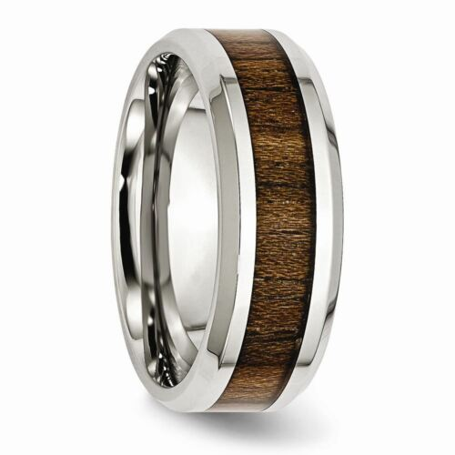 Details about  /Stainless Steel Polished Wood Inlay Enameled 8 MM Wedding Band Ring