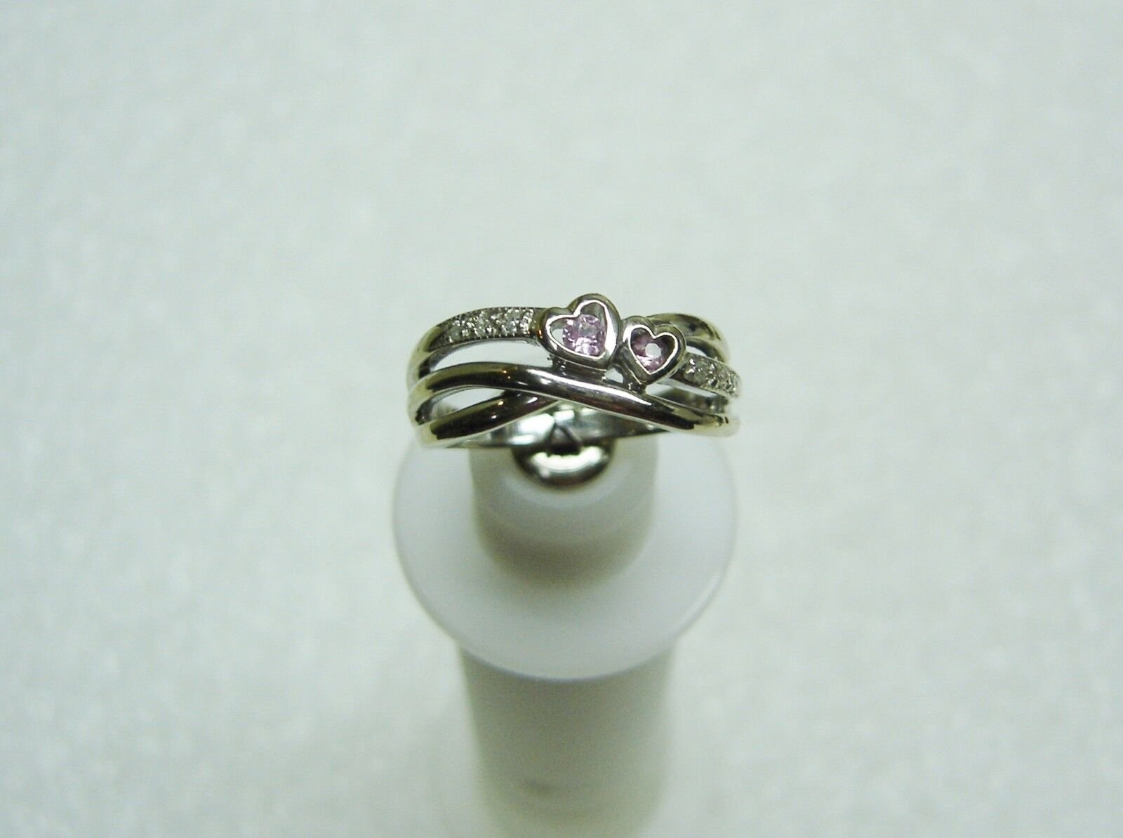 Two 2 HEART 10K WHITE gold 2 PINK TOPAZ AND 6 DIAMOND RING SIZE 6 1 2 212-H