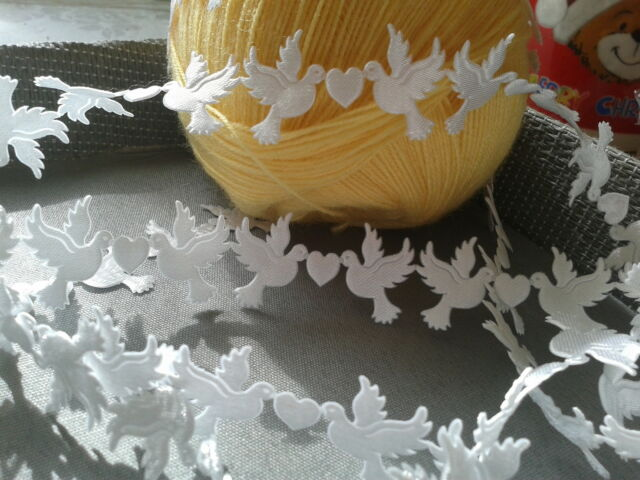 VINTAGE satin Dove lace trim ribbon WIDE BRIDAL CRAFTS card Classic - per Yard