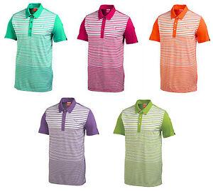 e2fba04c0d01 PUMA Golf Mens Rickie Fowler Yarn Dye Stripe Block Polo Golf Shirt ...