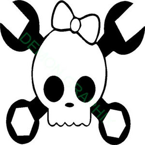 Girl Skull Wrenches Bow Vinyl Decal Sticker Window Laptop