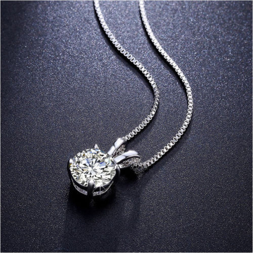 Silver White Round Crystals Solitaire Pendant Chain Necklace