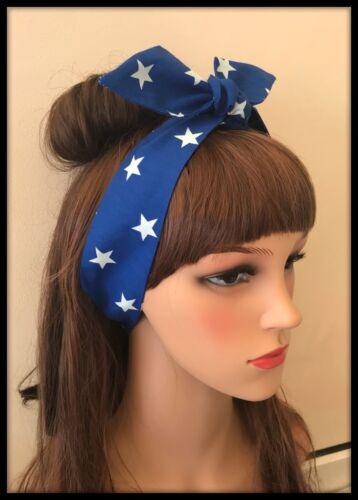 Royal Blue Stars USA Headband Bandana Headscarf Hairband Hair Tie White Fabric