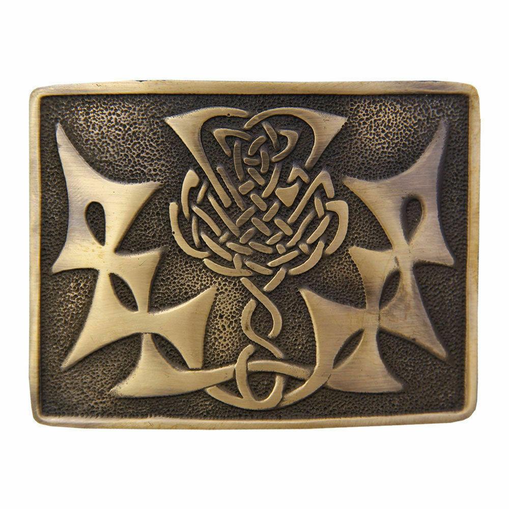 Scottish kilt Belt Buckle Celtic Knot Design Antique/Chrome/Jet Black Finish
