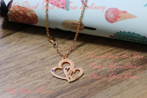 Personalizado DOBLE CORAZÓN collar regalo joyería de oro rosa nombres Piedras