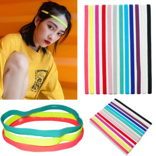 Girls Women Men Elastic Yoga Headband Sport Rubber Sweatband Thin Hair Bands Hot