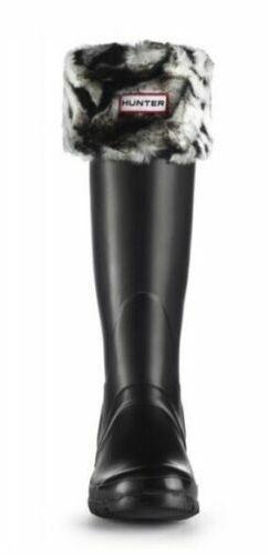 HUNTER Black Tall Rain Boots w/ Fleece Zebra Sock… - image 1