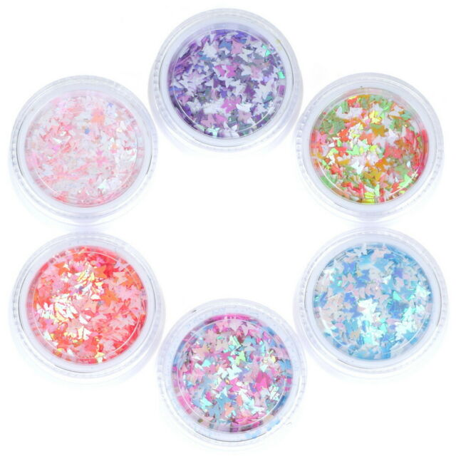New 6 Boxes 3D Butterfly Glitter Sequins for Nail Art Tips Decoration Crafts DIY