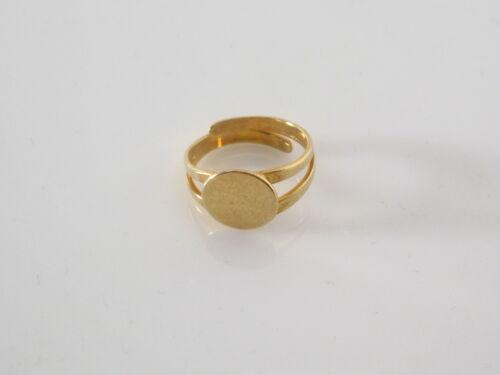 10 argento 925 placcato oro giallo 1 base anello regolabile da incollo tondo mm