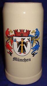RP1451 Vtg Munchen Munich Beer Stein Made In West Germany 1 Litre
