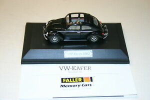 1-43-VW-KAFER-1962-FALLER-MEMORY-CARS-BLACK-SUNROOF-MADE-IN-GERMANY