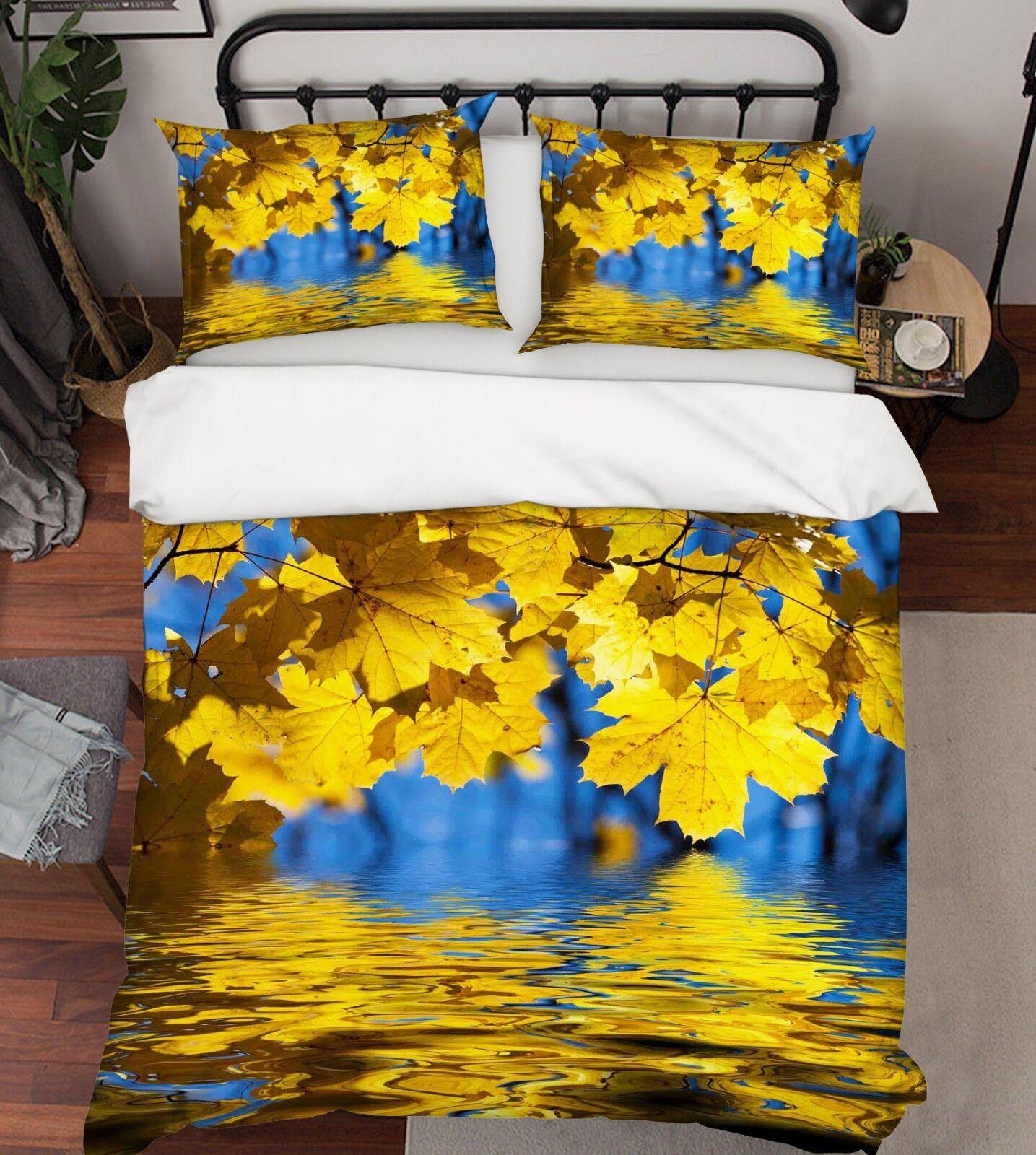 3d jaune Maple Sea 56 Bed Cushion Covers Stitch Duvet Cover Set Single DE