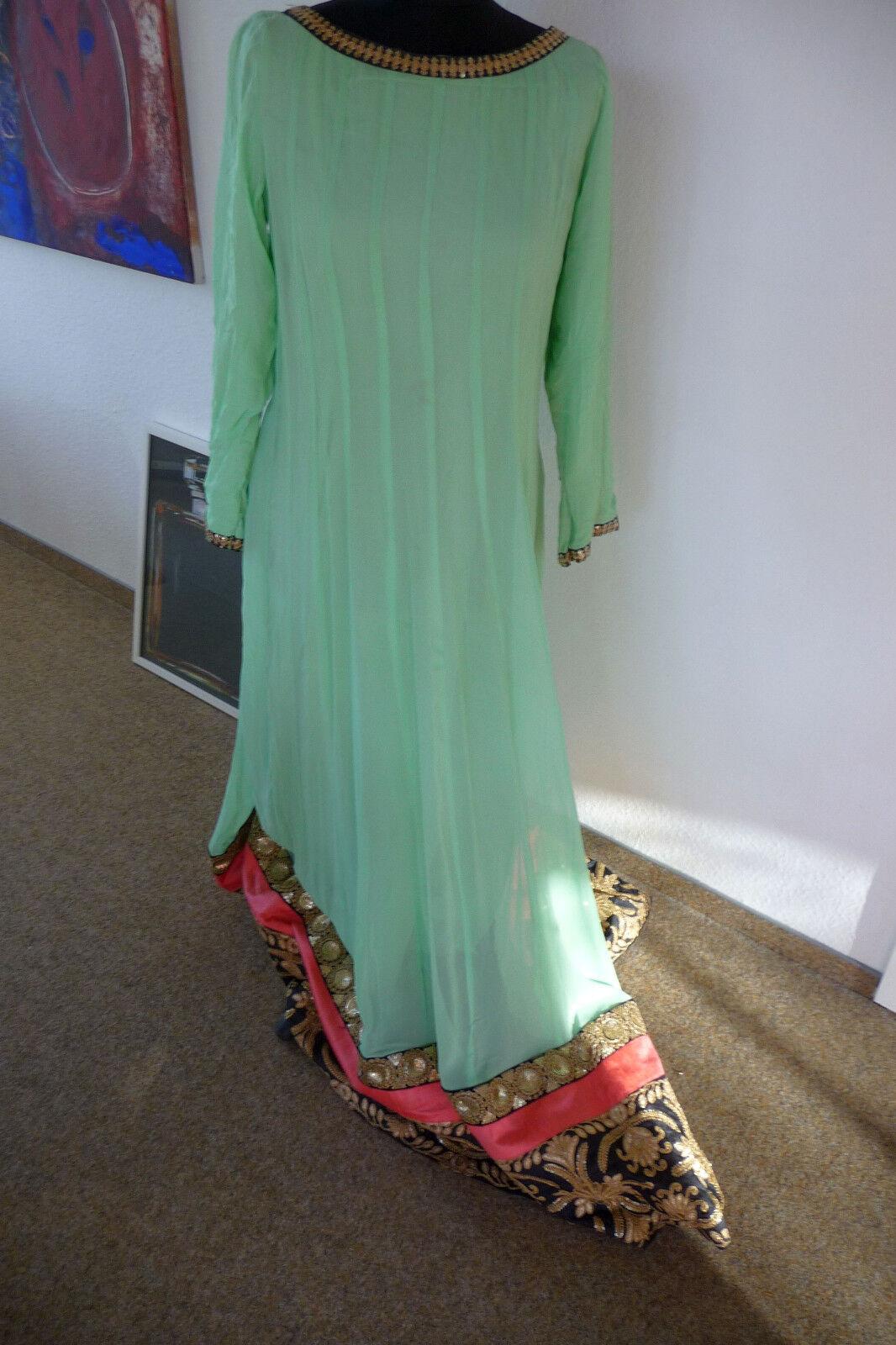 Bollywood-Theater-Karneval  Indisches Anarkali-Kleid mintgrün Stola Gr. 38