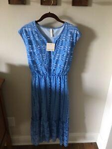 NWT-Orange-Creek-Women-s-Lace-Dress-Cornflower-Blue-Midi-Length-Size-Medium