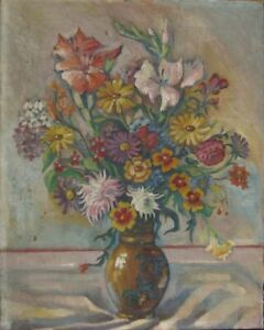 still-Life-Art-Deco-UM-1930-Indistinctly-Signed-Spring-Flowers-Antique-Painting