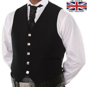100-lana-5-Boton-Negro-Chaleco-escoces-Prince-Charlie-Argyle-Kilt-boda
