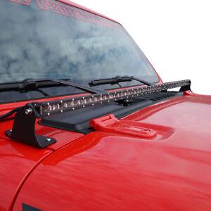 Details About Hood Mounted Mount Light Bar Kit 52 Slim For Jeep Wrangler Jl 2018 2019 Plus