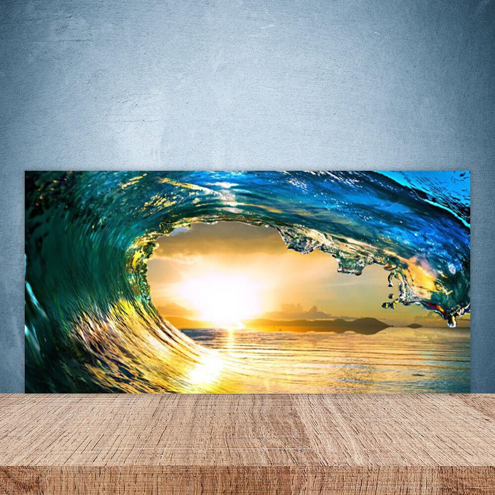 Cupboard kitchen glass 100x50 wall panel wave sea sunset