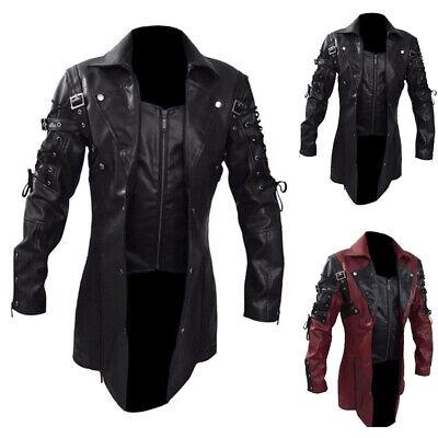 Vintage Hommes Gothique Steampunk Veste Simili Cuir Long Fashion Moto Manteau   eBay