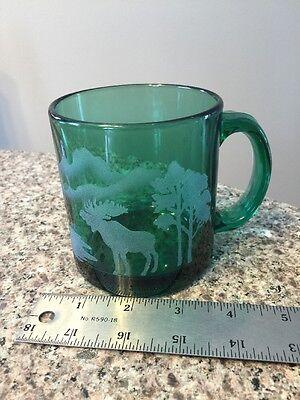 Vintage Emerald Green Glass 12oz Coffee Tea Mug Cup Etched Moose Trees USA