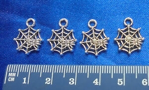 SPIDER-WEB-CHARMS-Silver-DIY-Jewelry-Findings-FREE-JUMP-RINGS-8pcs-SPOOKY-SCARY