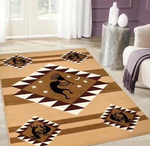 Details About Kokopelli Musicians Southwest Brown Area Rug 8 X 10 Southwestern Tribal Western