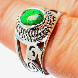 Green-Copper-Turquoise-925-Sterling-Silver-Ring-Size-7-Ana-Co-Jewelry-R25771F