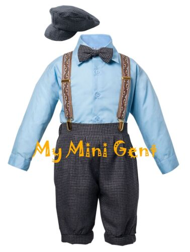 Vintage Baby Boys Toddlers Tuxedo Knickers Outfit Houndstooth Blue and Ivory