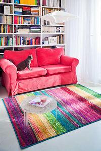 Teppich-modern-Design-Dor-bunt-Streifen-Wohnzimmer-pink-tuerkis-gelb-blau-gruen