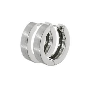 100% QualitäT Paar 925er Sterlingsilber Klappcreolen Matt Glänzend 13x3mm Anlaufgeschützt 4786