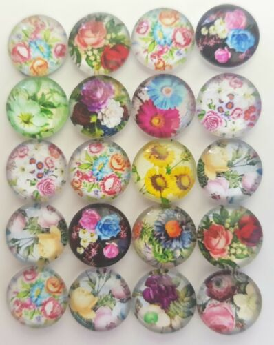 Flores//Flores Vidrio Cabuchones 20 12 Mm-Flatback//artesanal//Joyería//Gemas-Rosa//Bonita
