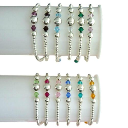 Personalised Bracelets with Birthstones /& Sterling Silver Beads in Christmas Box