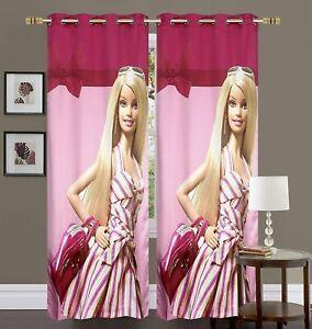 Barbie Doll Princess Printed Satin Door Curtain for Girls Room, Multicolour