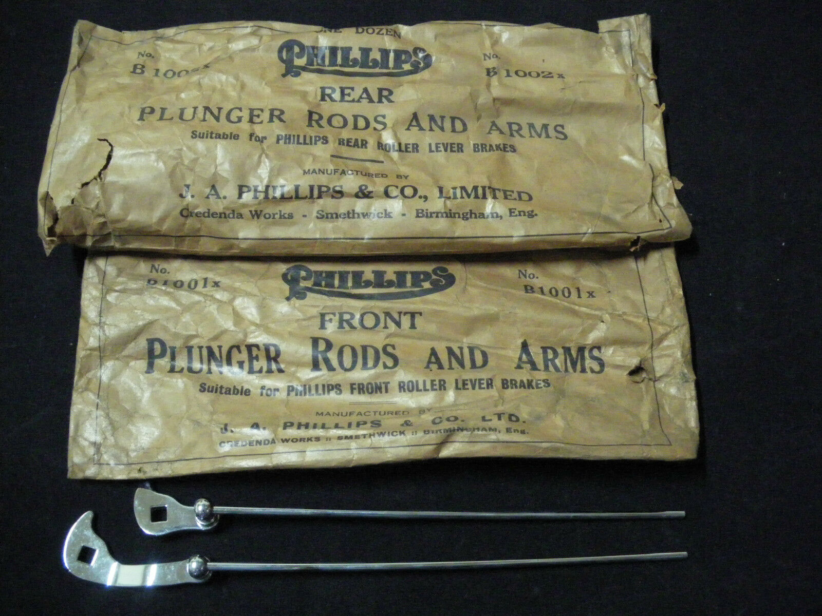 RARE Vintage PHILLIPS Bicycle Handlebar Plunger Rods and Arms (1 pair) NOS 1950s