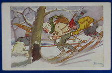 SCIATORI  Sport Umoristica  illustrata DIDONE  viaggiata anni 20  f/p #20888