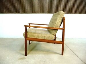 Danish Grete Jalk Teak Wool Easy Chair For Cado Vintage Sessel