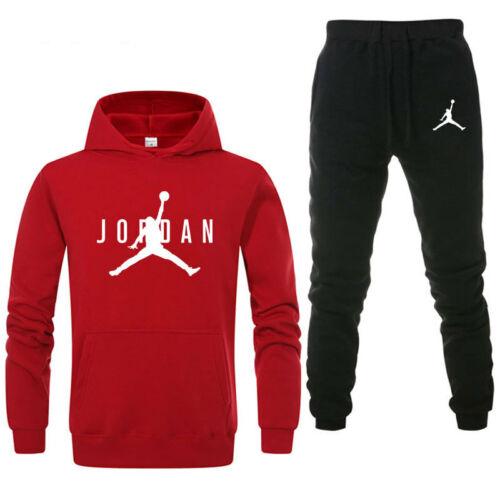 2Pc Fashion Men Full Tracksuit Hoodie Bottoms Sweat Track Suit Jogging Gym Sport
