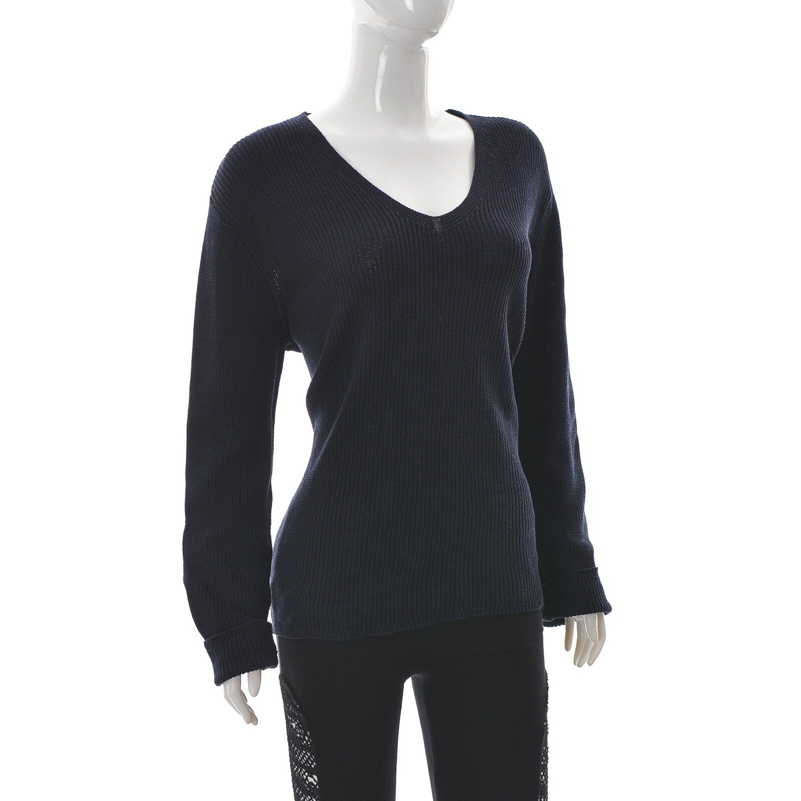Clarina Sammlung Damen V-Ausschnitt Gerippter Strick Pullover Größe 42 Navy Blau
