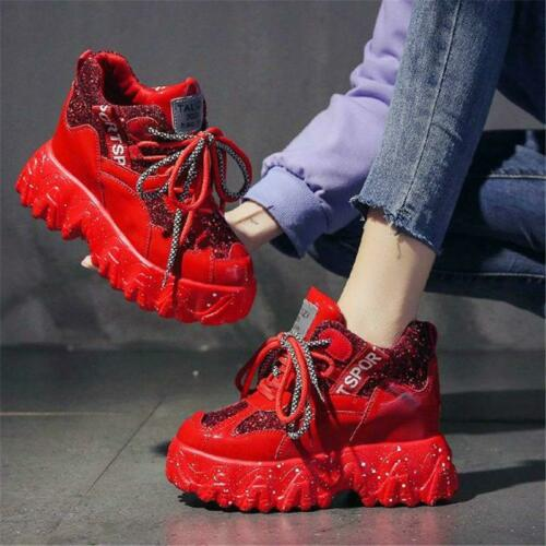 Details about  /Athletic Trainers Women Bling Glitter Platform Wedge Sneakers Punk Boots spring/%