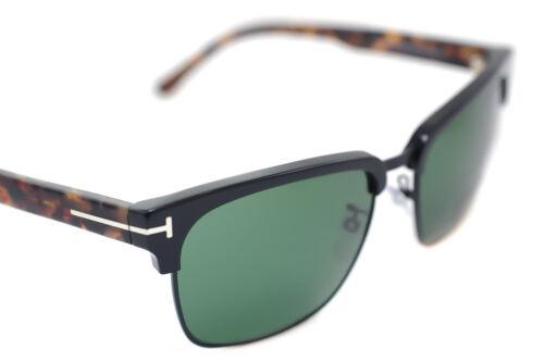 TOM FORD RIVER 367 02B 57mm Men Large Square Retro Sunglasses BLACK HAVANA GREEN