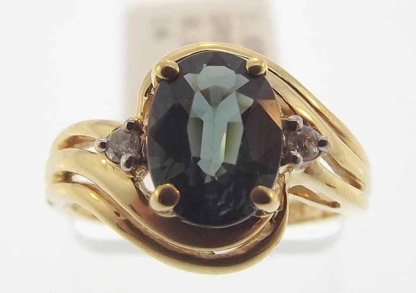 14KT YELLOW gold 1.69 CTTW GREEN SAPPHIRE & DIAMOND RING SIZE 6 (34R 140-10099)
