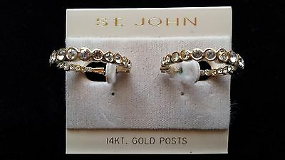 St. John Jewelry Vintage 22k Gold Plate Swarovski Crystal Earrings with14k posts