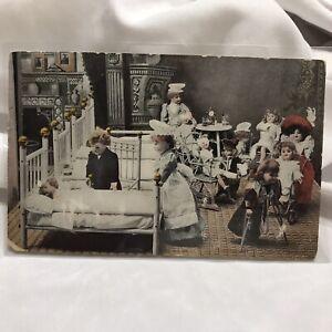 Vintage-Creepy-Victorian-Bisque-Dolls-Hospital-Postcard-Trenton-NJ-Orson-PA-1908