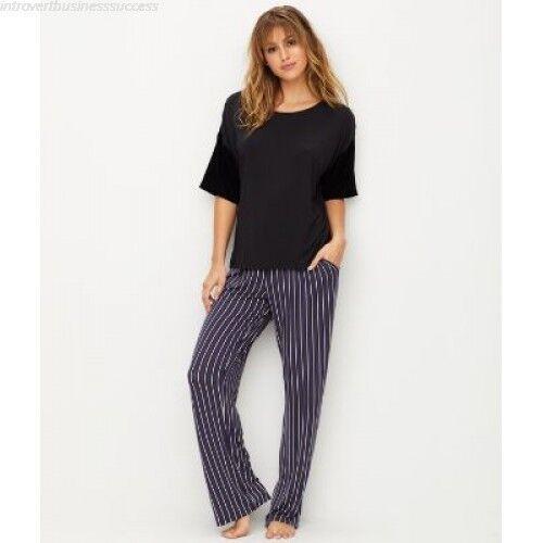 DKNY Women's Pajama Pant Shadows Pant Plum Stripe M, L