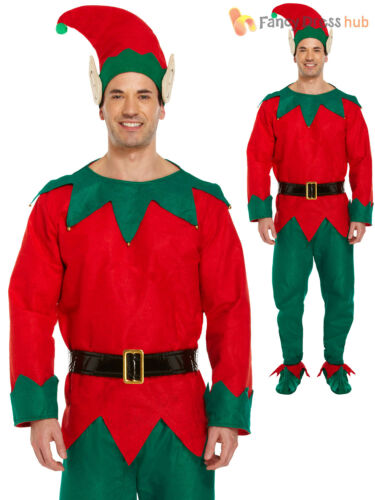 Adults Complete Elf Costume Boots Hat Santas Helper Christmas Mens Fancy Dress