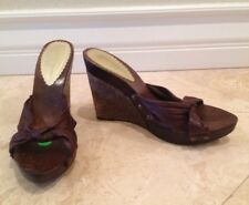 JESSICA SIMPSON Cork & Wood Plateform Wedge Mule Slide Sandal Sz 9 M